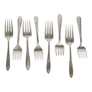 Vintage Silverplate Salad Forks- Set of 8