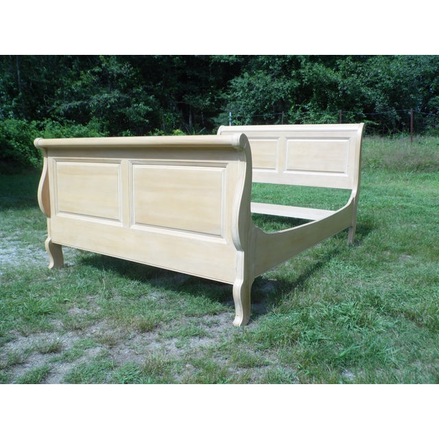 Vintage Ethan Allen Country French Bisque Birch Full Double Sleigh Bed - Image 6 of 11