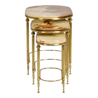 Italian Stacking Onyx & Brass Side Tables - A Pair