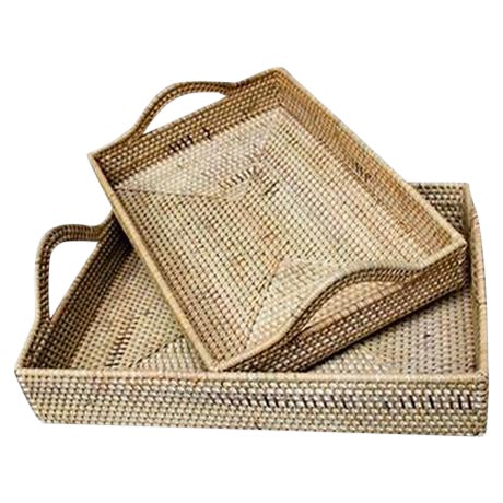 Rattan Handled Tray Set - A Pair - Image 1 of 3