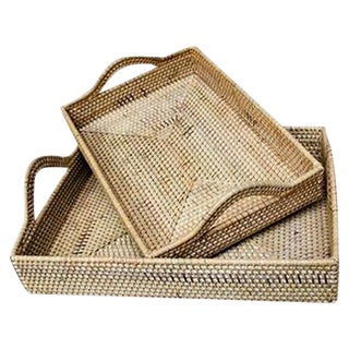 Rattan Handled Tray Set - A Pair