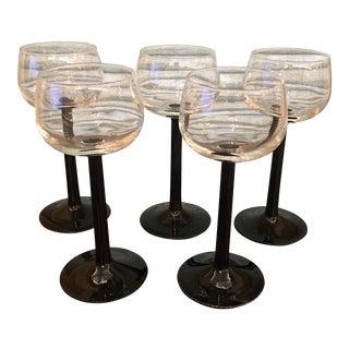 Mid-Century Black Stem Wine Glasses- Set of 5