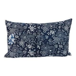 Chinese Indigo Batik Foo Dogs Patchwork Pillow
