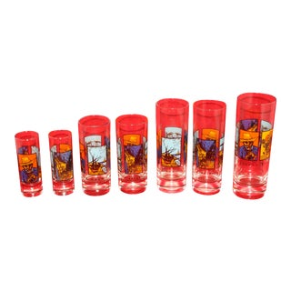 Vintage Vincent Van Gogh Spirits Art Drinking Glasses - Set of 7