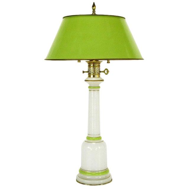 Warren Kessler Empire-Style Table Lamp of Jade Green and White Milk Glass - Image 1 of 6