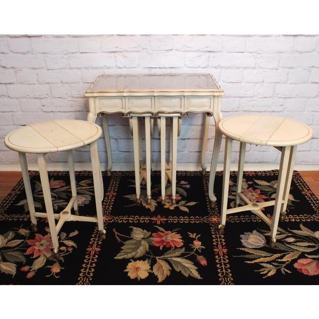 20th C. Italian Gilt White Lacquered Serving Table & Tray Tables- Set of 5 - Image 6 of 11