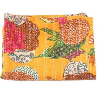 Yellow Floral Kantha Throw - Full