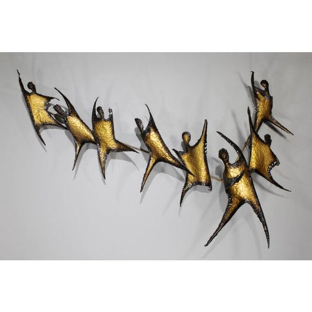 Brutalist Figural Brass Wall Sculpture - Image 2 of 8