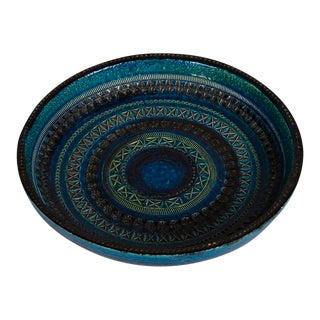 Enormous Bitossi Rimini Blue Low Shallow Bowl, Italy c.1965