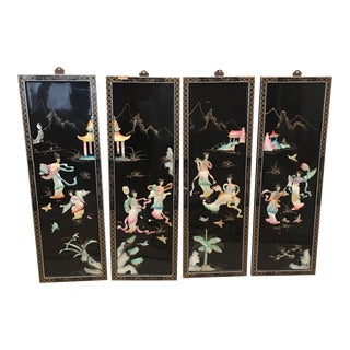 Chinese Lacquered Wall Panels With Jade - Set of 4