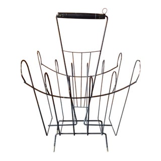 Mid-Century Magazine Rack with Handle