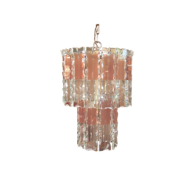 Italian Mid-Century Coral & Crystal Chandelier - Image 1 of 6