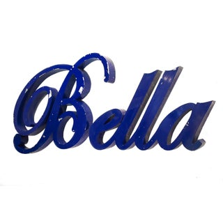 """Vintage Aluminum """"Bella"""" Sign in Script C. 1950"""