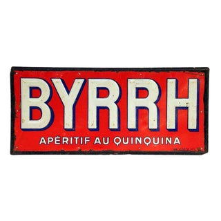 French BYRHH Red & White Liquor Signs - A Pair