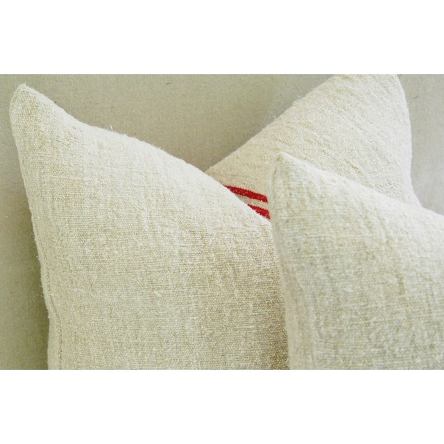 French Red Stripe Grain Sack Pillows - Pair - Image 8 of 9