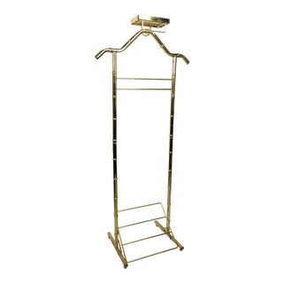 Hollywood Regency Brass Bamboo-Style Gentleman's Valet
