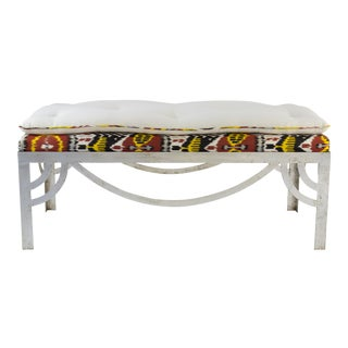 Silver Gilt Ikat Bench