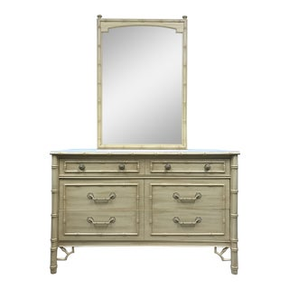 Thomasville Allegro Faux Bamboo Dresser with Mirror