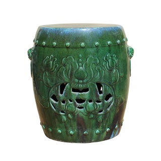 Chinese Green Round Lotus Clay Ceramic Garden Stool cs2843
