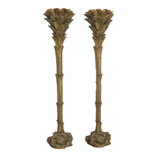 Serge Roche Style Gilded Palm Tree Torchiere Style Floor Wall Sconce Lamps - a Pair