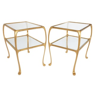 Gaudi Inspired Brass Two-Tier End Tables - A Pair