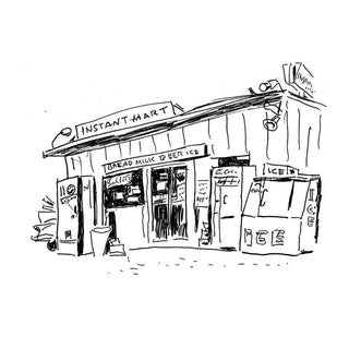 """Vintage """"Instant Mart"""" Drawing, Giclee Print by New Yorker Cartoonist George Schellhase, 1950s"""