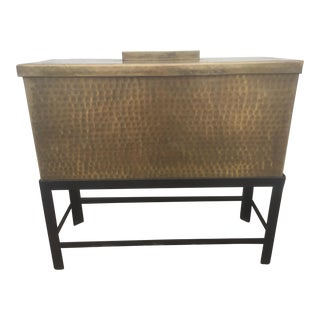 Brass Trunk on Metal Stand