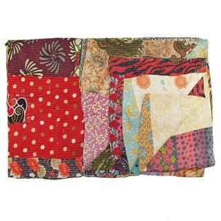 Vintage Red Kantha Quilt