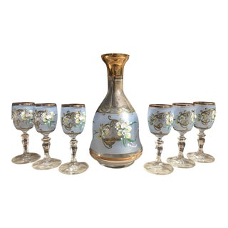 Hand Painted Flower Decanter & Glasses - Set of 7