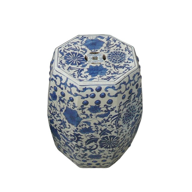 Image of Blue And White Porcelain Flower Stool Table