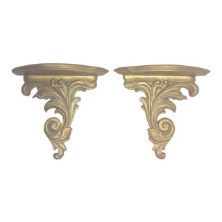 Hollywood Regency Gold Wall Brackets - A Pair