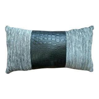 Gray & Black Leather Pillow