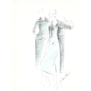 Black & Blue Original Fashion Illustration, 1950s
