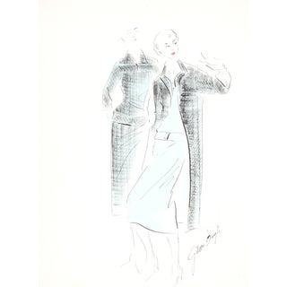 Black & Blue Original Fashion Illustration, 1950s
