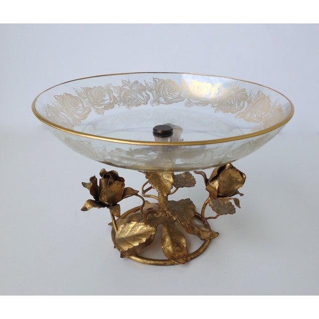 Gilt Italian Tole & 22k Gold Glass Center Bowl II - Image 3 of 8