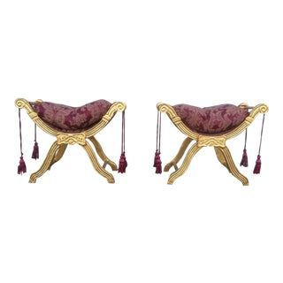 Giltwood X Form Benches- A Pair