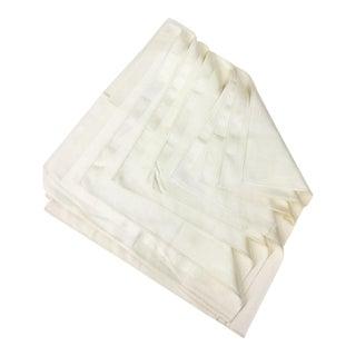Vintage Damask Cotton Silk Napkins - Set of 7