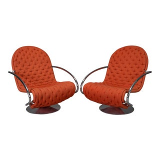 "Verner Panton for Fritz Hansen ""1-2-3"" Series Easy Chairs - A Pair"