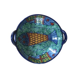 Large Hand Painted Bowl with Fish Design