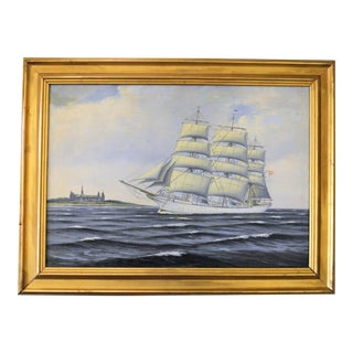 Antique Danish Nautical Ship Portrait