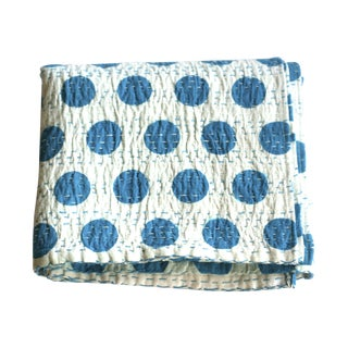 Blue Polka Dot Throw - A Full