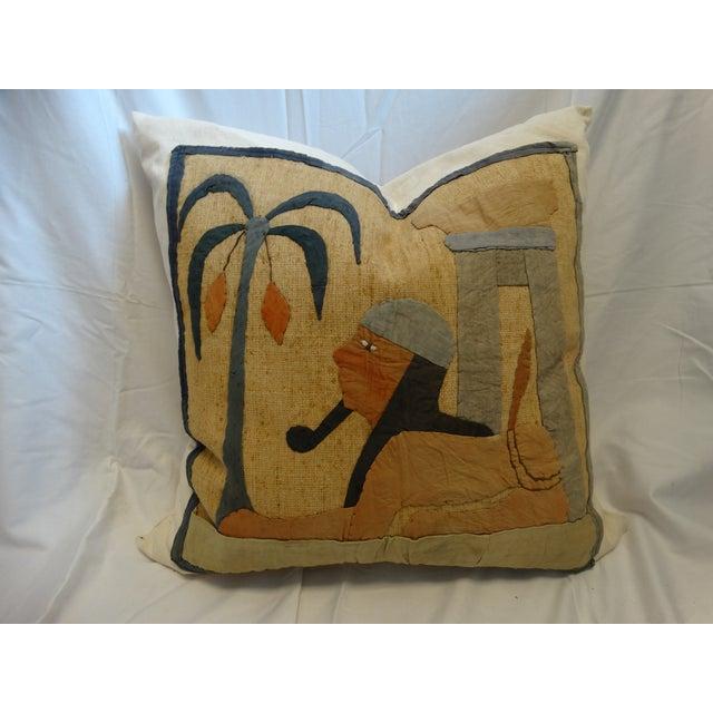 Antique Egyptian Applique Pillow - Image 2 of 3