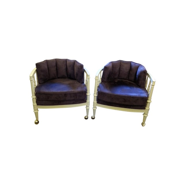 Vintage Purple Club Chairs - A Pair - Image 1 of 5