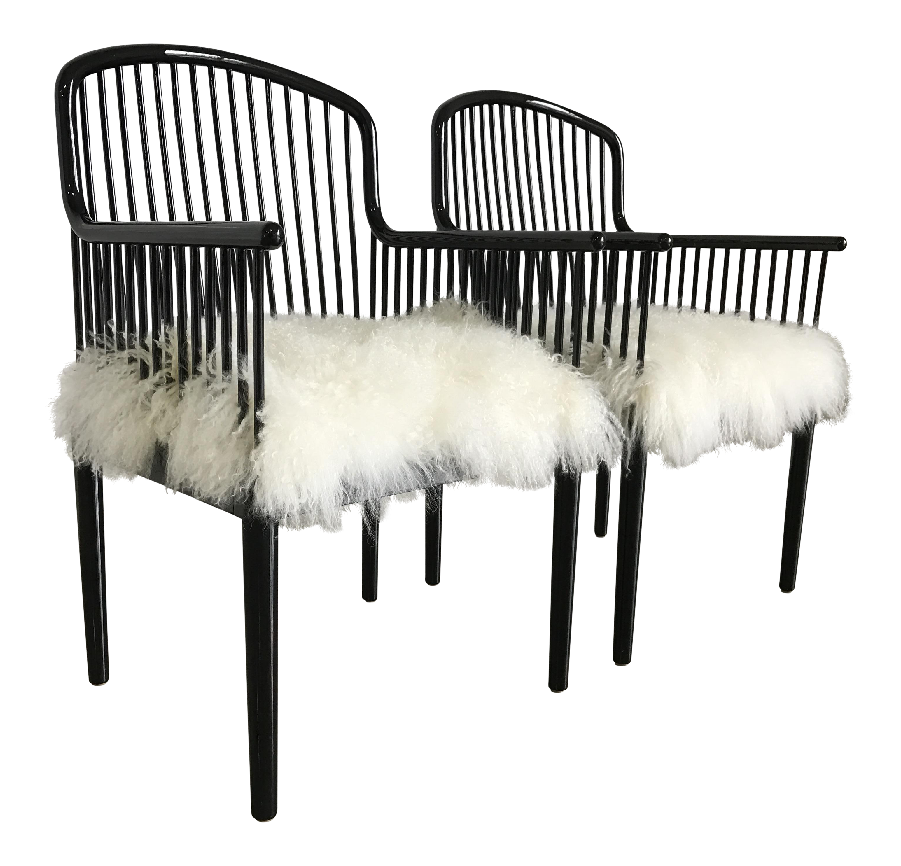 Vintage Italian Stendig Andover Chairs With Mongolian Lambswool