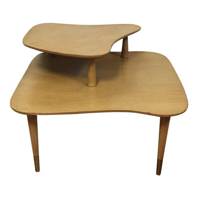 Bleached Mahogany Two Tiered Corner Table - Image 1 of 10