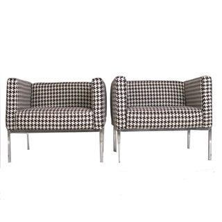 Houndstooth Chrome Club Chairs - A Pair