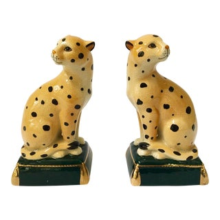 Vintage Takahashi Sculptural Leopard Bookends - A Pair