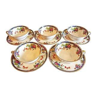 Cream Floral Soup Bowls & Saucers - 10 Pieces