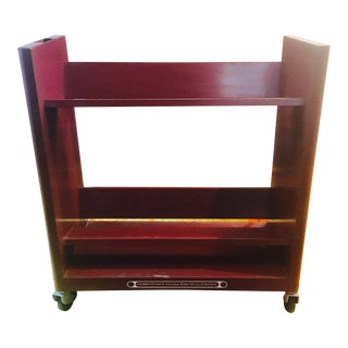 Vintage 1960s Burgundy Metal Book Cart / LP Record Storage