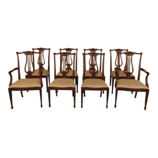 Henkel Harris #118 Mahogany Lyre Back Dining Chairs - Set of 8